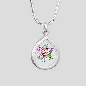 Live Love Read Silver Teardrop Necklace