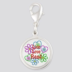 Live Love Read Silver Round Charm