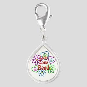 Live Love Read Silver Teardrop Charm