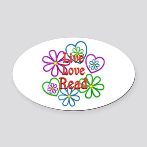 Live Love Read Oval Car Magnet