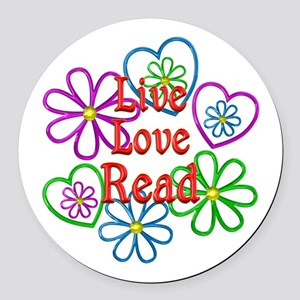 Live Love Read Round Car Magnet
