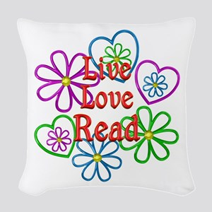 Live Love Read Woven Throw Pillow