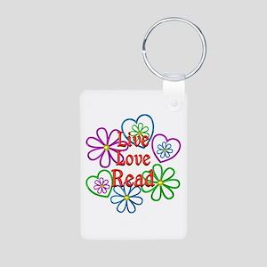 Live Love Read Aluminum Photo Keychain