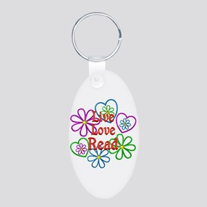 Live Love Read Aluminum Oval Keychain