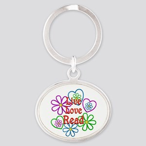 Live Love Read Oval Keychain