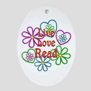 Live Love Read Oval Ornament