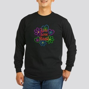Live Love Read Long Sleeve Dark T-Shirt