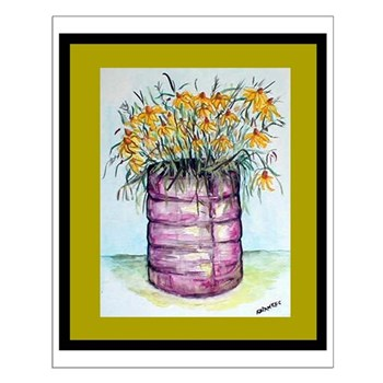 Fading Daisies Watercolor Print Small Poster