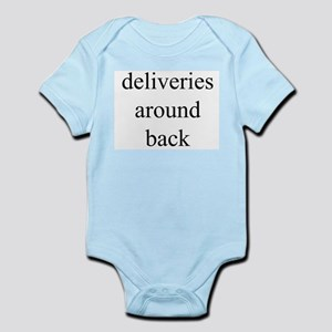 deliveries around back Infant Bodysuit