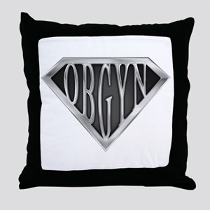 SuperOBGYN(metal) Throw Pillow