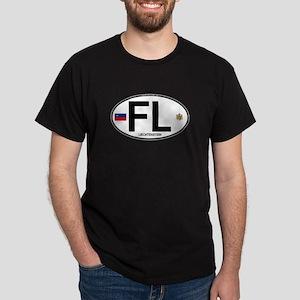 Liechtenstein Euro Oval Dark T-Shirt