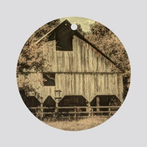 vintage rustic country barn house Round Ornament