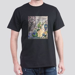 white rose peacock feather vintage floral T-Shirt