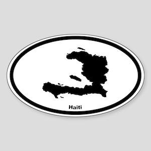 Haiti Outline Oval Sticker