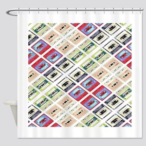 retro cassette tape funky pattern Shower Curtain