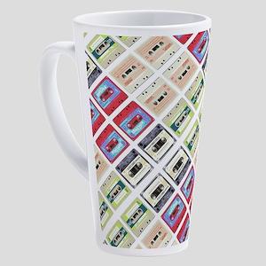 retro cassette tape funky pattern 17 oz Latte Mug