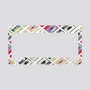 retro cassette tape funky pat License Plate Holder