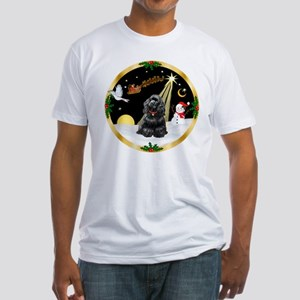 Night Flight/Cocker Spaniel (black) Fitted T-Shirt