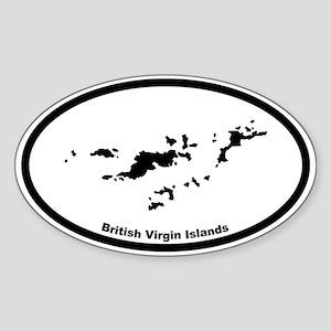 British Virgin Islands Outline Oval Sticker