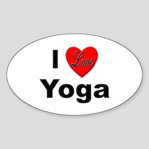 I Love Yoga Oval Sticker