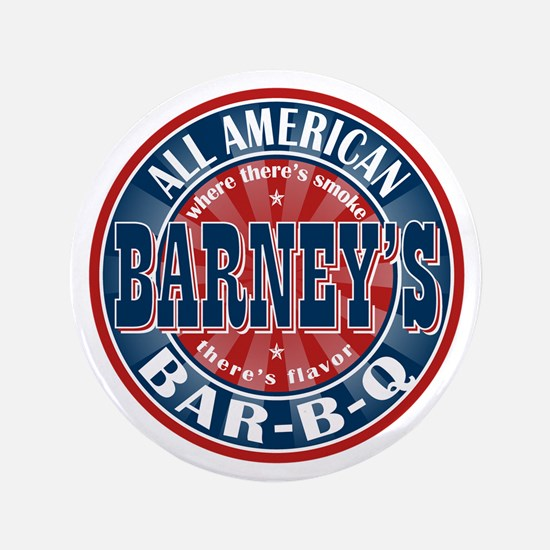 "Barney's All American BBQ 3.5"" Button"