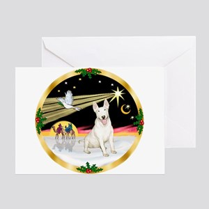 XmasDove/Bull Terrier Greeting Card