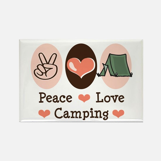 Peace Love Camping Rectangle Magnet (10 pack)