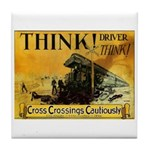 Cross Crossings Cautiously ! Tile Coaster