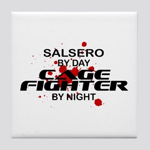 Salsero Cage Fighter by Night Tile Coaster