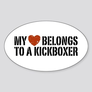 My Heart Belongs to a Kickboxer Oval Sticker
