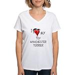 Toy Manchester Terrier Women's V-Neck T-Shirt