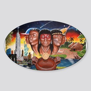 """""""TAINO PAST AND PRESENT"""" Oval Sticker"""