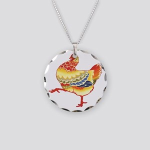 Vintage Chicken Necklace Circle Charm