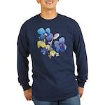 Watercolor Flowers Long Sleeve Dark T-Shirt