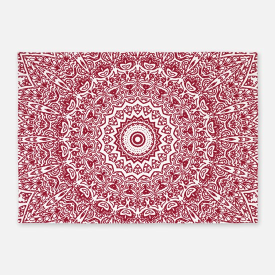 Crimson Red Mandala Pattern 5'x7'Area Rug