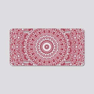 Crimson Red Mandala Pattern Aluminum License Plate