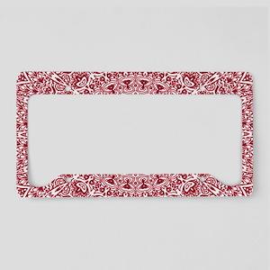 Crimson Red Mandala Pattern License Plate Holder
