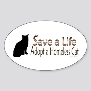 Adopt Homeless Cat Oval Sticker (10 pk)