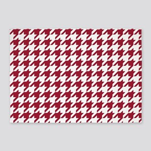 Crimson Red Houndstooth Pattern 5'x7'Area Rug
