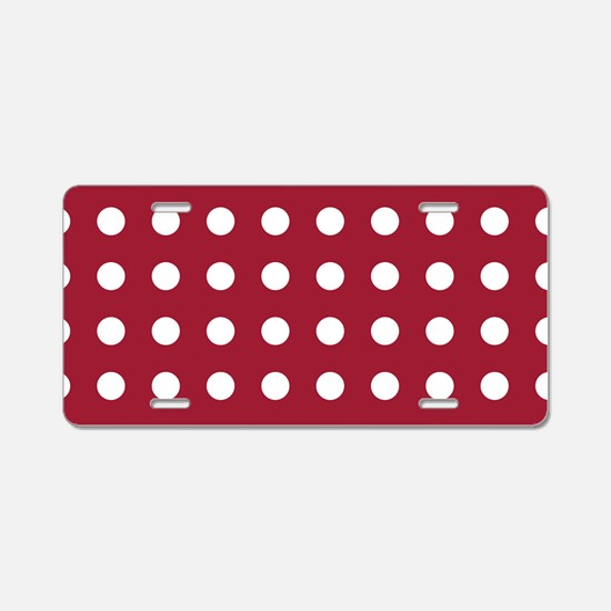 Crimson Red Medium Polka Do Aluminum License Plate