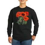 Red Poppies Long Sleeve Dark T-Shirt