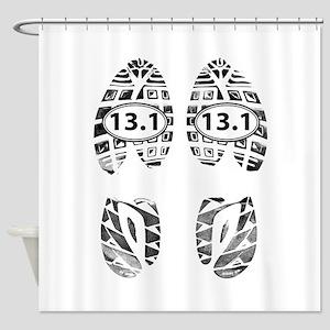 13.1 HALF MARATHON FOOTPRINTS Shower Curtain