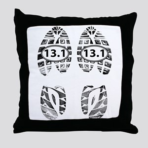 13.1 HALF MARATHON FOOTPRINTS Throw Pillow