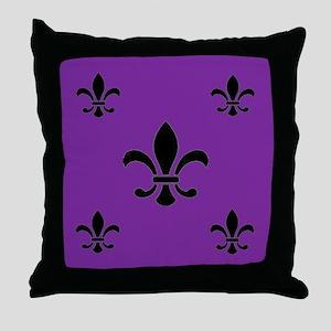 Purple Fleur de Lis Throw Pillow