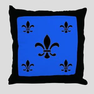 Royal Blue Fleur de Lis Throw Pillow