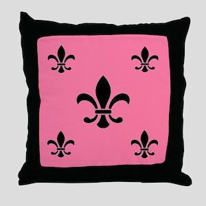 Deep Pink Fleur de Lis Throw Pillow