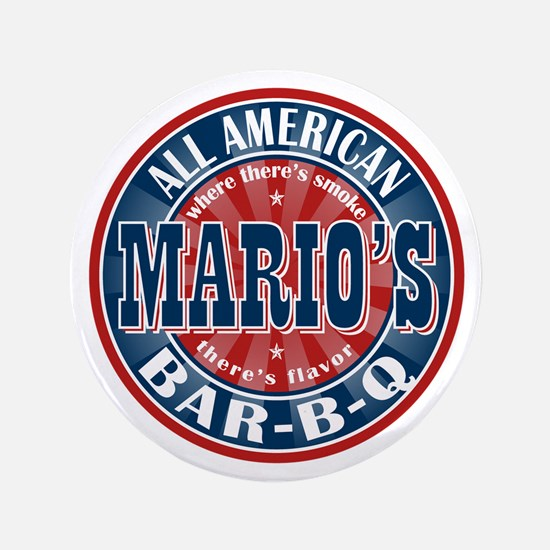 "Mario's All American BBQ 3.5"" Button"