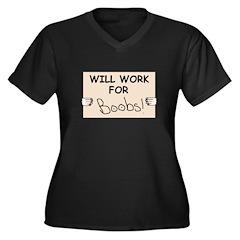 WILL WORK FOR BOOBS Women's Plus Size V-Neck Dark