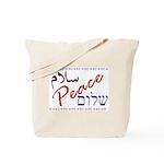 Peace (Arabic, English, Hebre Tote Bag