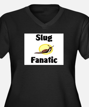 Slug Fanatic Women's Plus Size V-Neck Dark T-Shirt